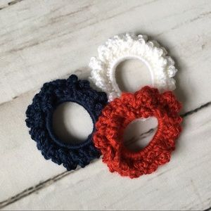 Boho crochet scrunchies Red white and blue